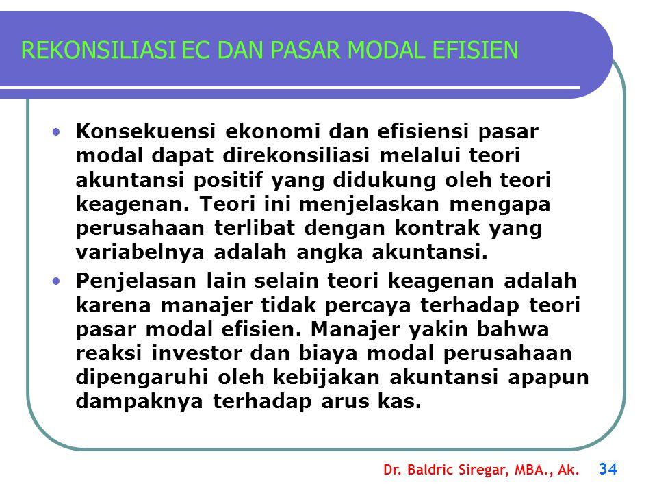 Dr. Baldric Siregar, MBA., Ak. 34 REKONSILIASI EC DAN PASAR MODAL EFISIEN Konsekuensi ekonomi dan efisiensi pasar modal dapat direkonsiliasi melalui t