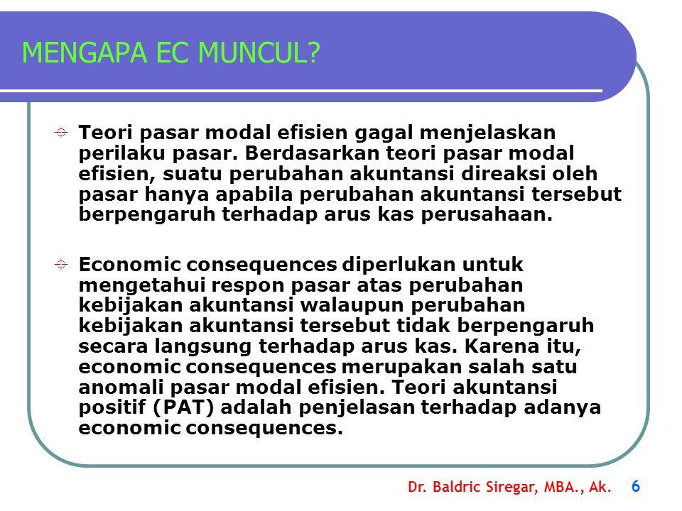Dr. Baldric Siregar, MBA., Ak. 6 MENGAPA EC MUNCUL?  Teori pasar modal efisien gagal menjelaskan perilaku pasar. Berdasarkan teori pasar modal efisie