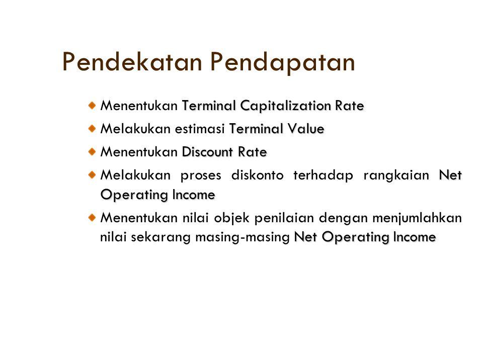 Pendekatan Pendapatan Terminal Capitalization Rate Menentukan Terminal Capitalization Rate Terminal Value Melakukan estimasi Terminal Value Discount R