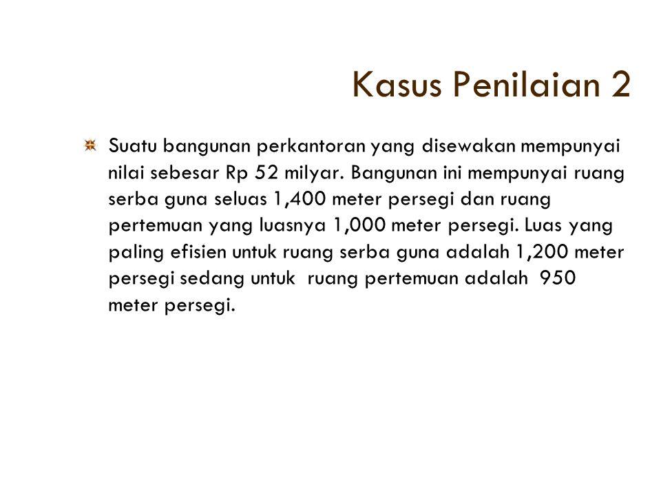 Kasus Penilaian 2 Suatu bangunan perkantoran yang disewakan mempunyai nilai sebesar Rp 52 milyar. Bangunan ini mempunyai ruang serba guna seluas 1,400