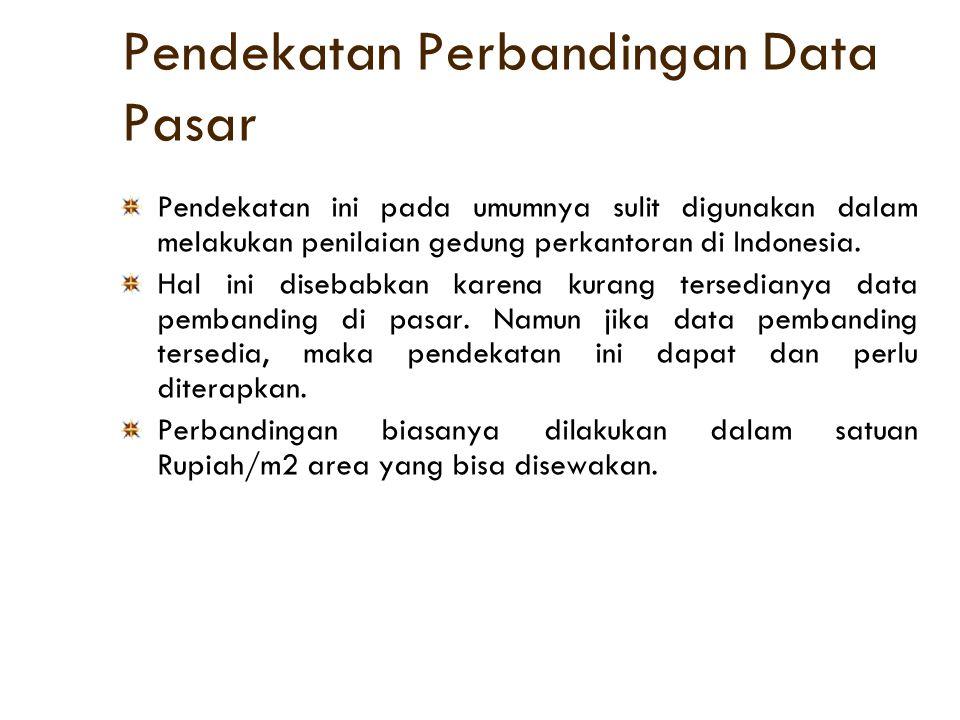 Pendekatan Perbandingan Data Pasar Pendekatan ini pada umumnya sulit digunakan dalam melakukan penilaian gedung perkantoran di Indonesia. Hal ini dise