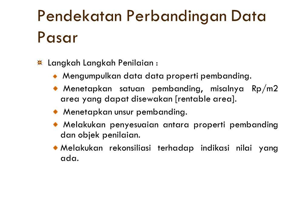 Pendekatan Perbandingan Data Pasar Langkah Langkah Penilaian : Mengumpulkan data data properti pembanding. Menetapkan satuan pembanding, misalnya Rp/m