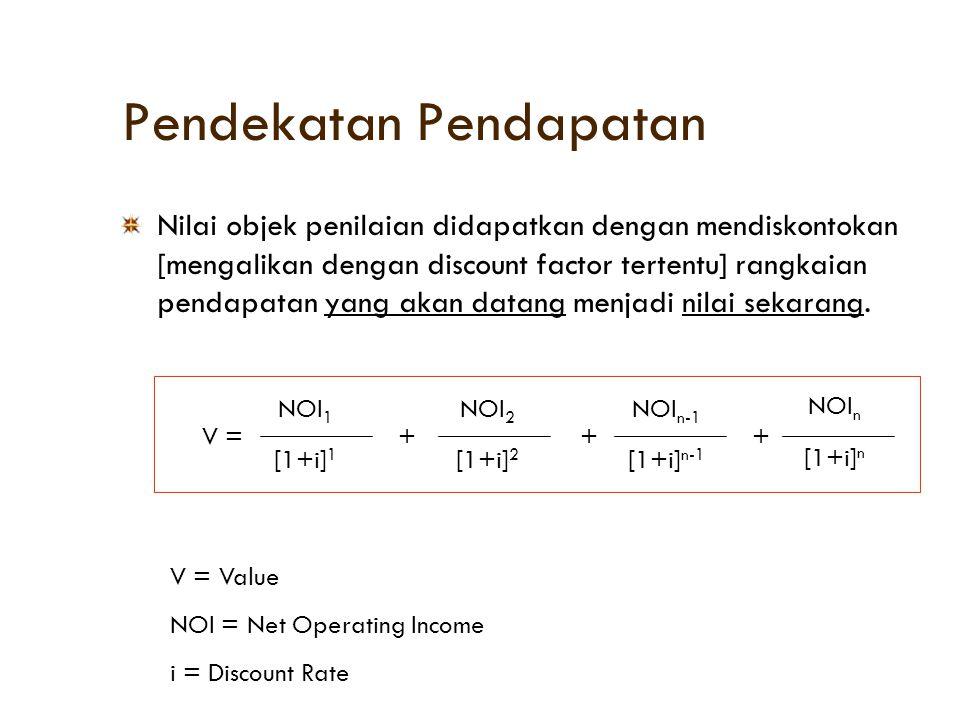 Pendekatan Pendapatan Langkah Langkah Penilaian : Income & Expense Melakukan riset terhadap Income & Expense [pendapatan dan pengeluaran] dari objek penilaian dan properti pembanding.