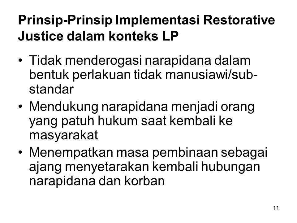 11 Prinsip-Prinsip Implementasi Restorative Justice dalam konteks LP Tidak menderogasi narapidana dalam bentuk perlakuan tidak manusiawi/sub- standar