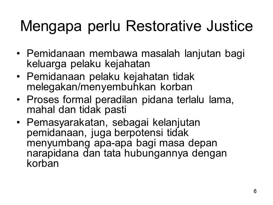 6 Mengapa perlu Restorative Justice Pemidanaan membawa masalah lanjutan bagi keluarga pelaku kejahatan Pemidanaan pelaku kejahatan tidak melegakan/men