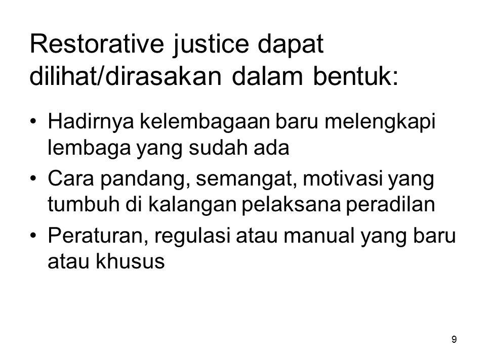 9 Restorative justice dapat dilihat/dirasakan dalam bentuk: Hadirnya kelembagaan baru melengkapi lembaga yang sudah ada Cara pandang, semangat, motiva