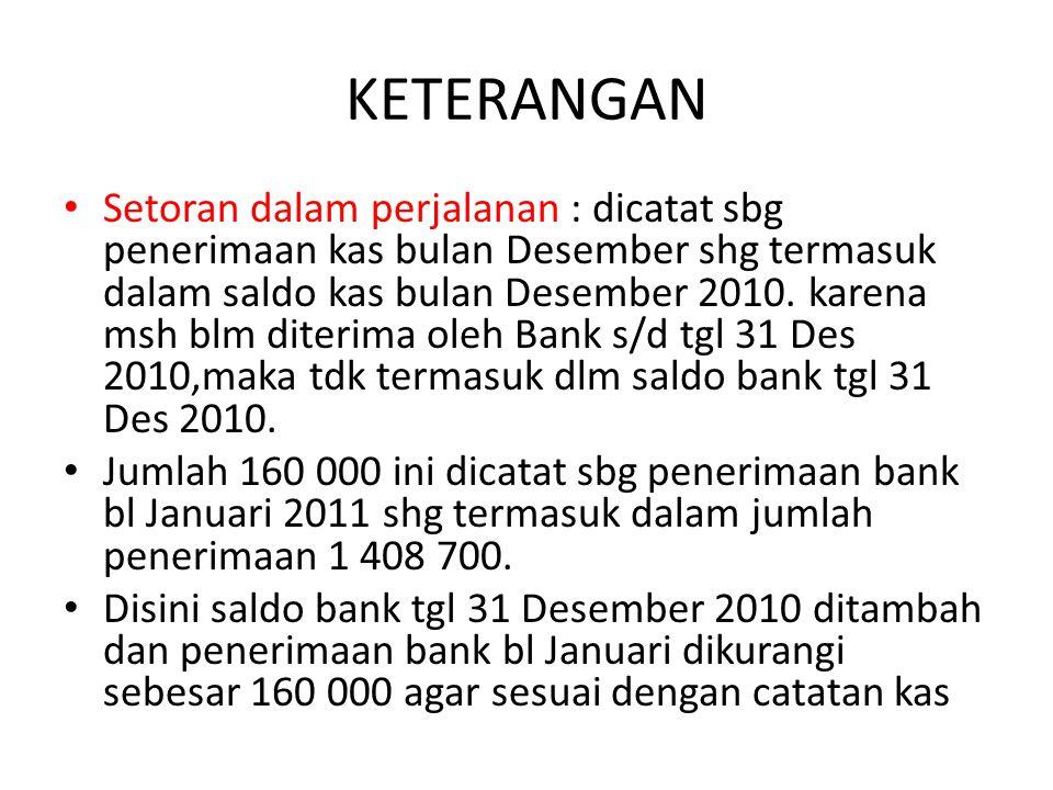KETERANGAN Setoran dalam perjalanan : dicatat sbg penerimaan kas bulan Desember shg termasuk dalam saldo kas bulan Desember 2010. karena msh blm diter