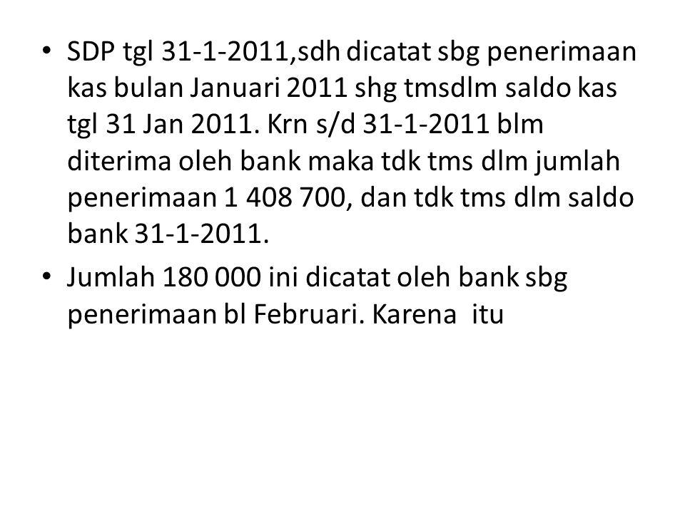SDP tgl 31-1-2011,sdh dicatat sbg penerimaan kas bulan Januari 2011 shg tmsdlm saldo kas tgl 31 Jan 2011. Krn s/d 31-1-2011 blm diterima oleh bank mak