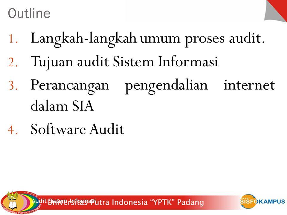 Sistem Inforrmasi Akuntansi Kerangka dasar Audit Pengembangan Program (Tujuan 2) Audit Sistem Informasi 10- 34 Beberapa cara pengendalian: Pengedalian pemrosesan yang kuat Pemrosesan mandiri data tes oleh auditor