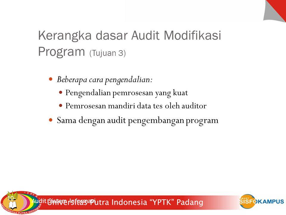 Sistem Inforrmasi Akuntansi Kerangka dasar Audit Modifikasi Program (Tujuan 3) Audit Sistem Informasi 10- 37 Beberapa cara pengendalian: Pengendalian pemrosesan yang kuat Pemrosesan mandiri data tes oleh auditor Sama dengan audit pengembangan program
