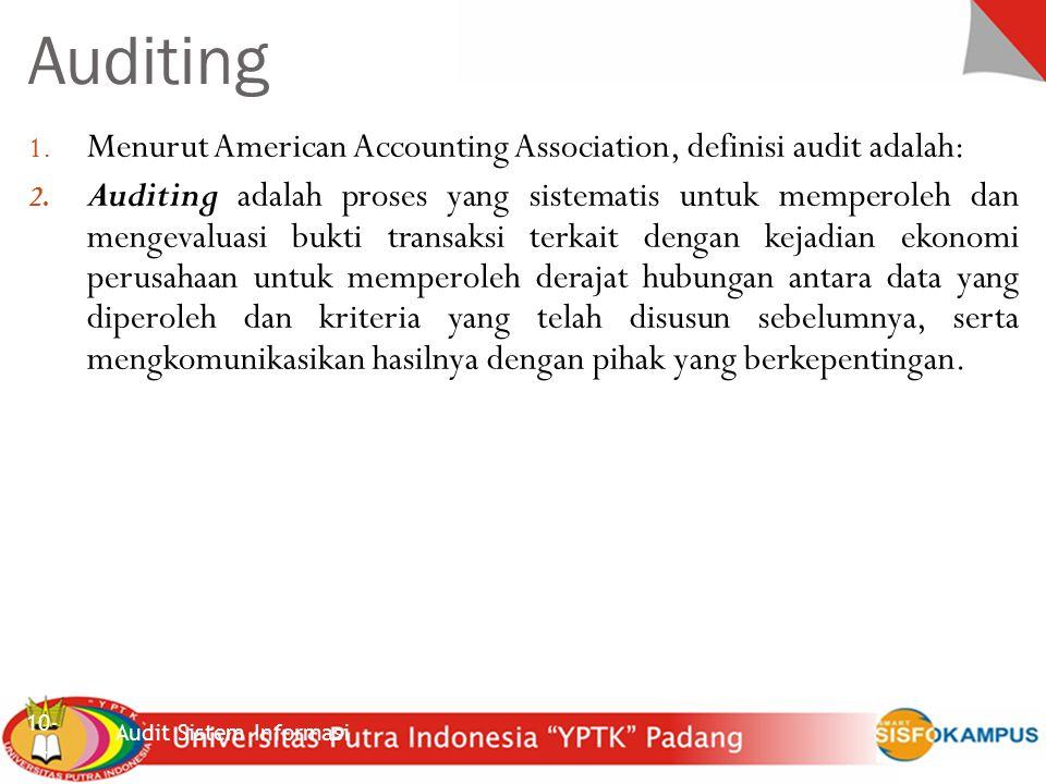 Sistem Inforrmasi Akuntansi Jenis pekerjaan audit internal 10- 5 Tiga jenis audit yang umumnya dilakukan : 1.