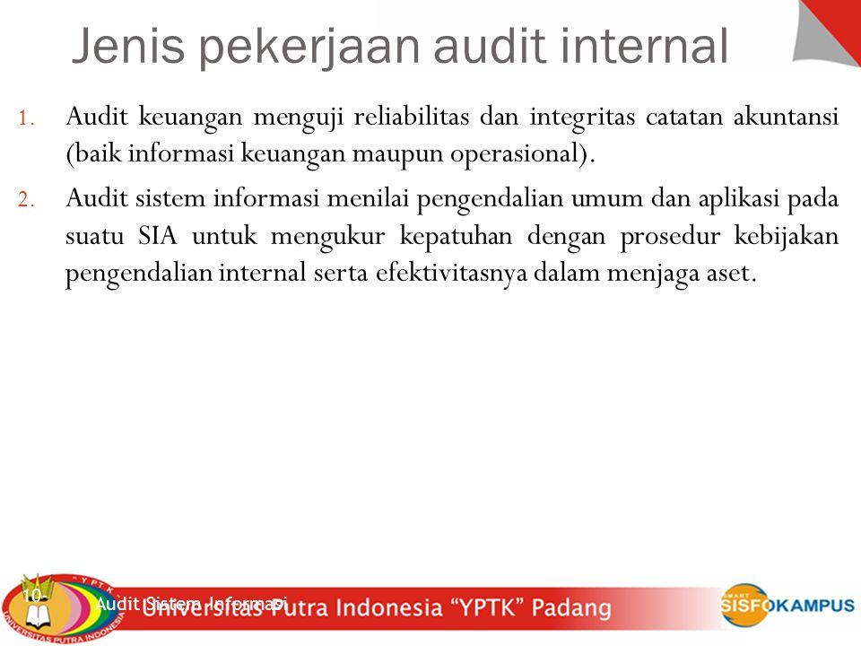 Sistem Inforrmasi Akuntansi Audit Sistem Informasi 10-27 5 Data sumber yang tidak akurat atau tidak diotorisasi dengan benar diidentifikasi dan ditangani sesuai kebijakan menajemen 6 File data komputer akurat, lengkap dan rahasia.