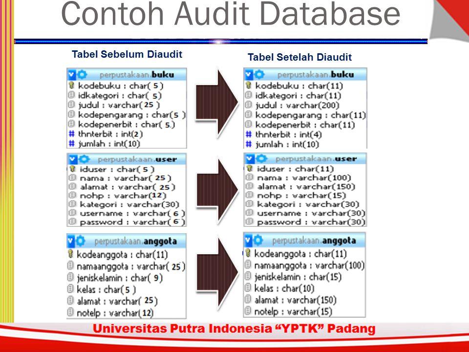 Sistem Inforrmasi Akuntansi Tabel Sebelum Diaudit Tabel Setelah Diaudit Contoh Audit Database