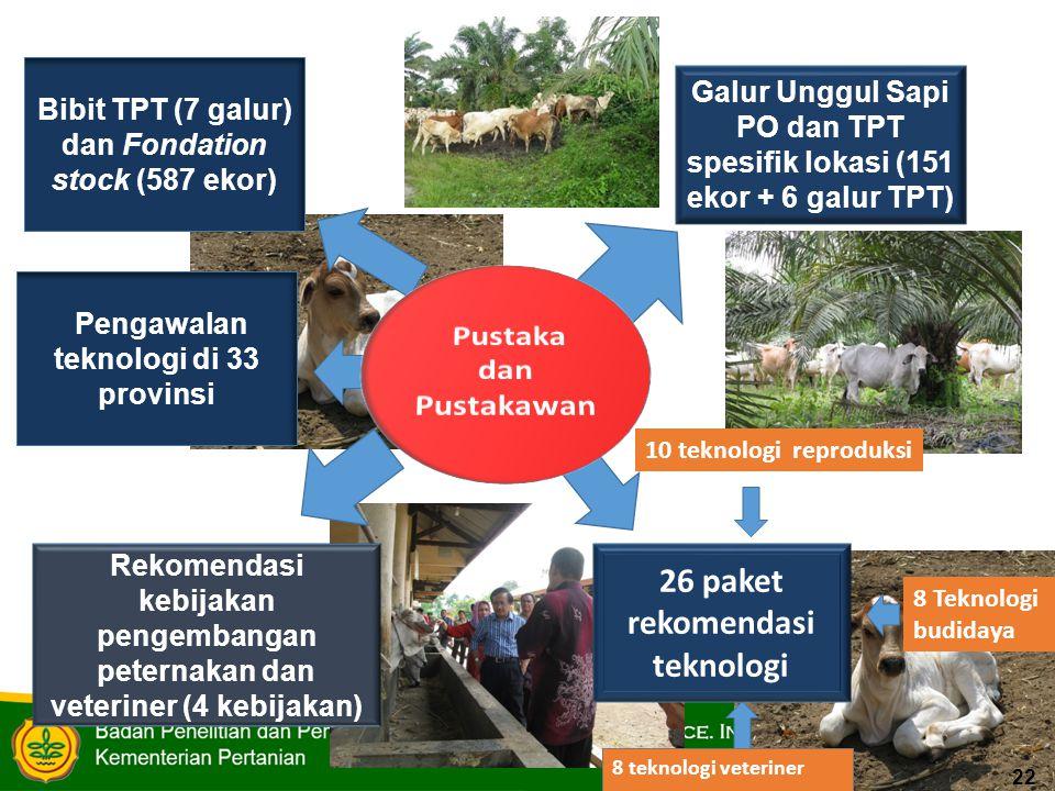 Galur Unggul Sapi PO dan TPT spesifik lokasi (151 ekor + 6 galur TPT) 8 Teknologi budidaya 10 teknologi reproduksi Rekomendasi kebijakan pengembangan