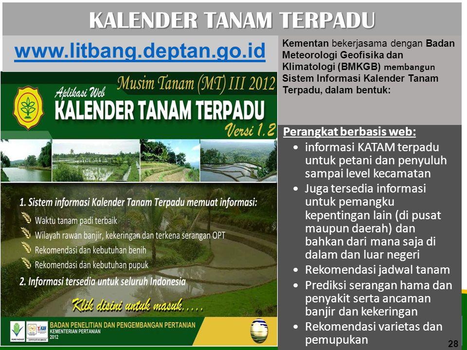 KALENDER TANAM TERPADU Perangkat berbasis web: informasi KATAM terpadu untuk petani dan penyuluh sampai level kecamatan Juga tersedia informasi untuk