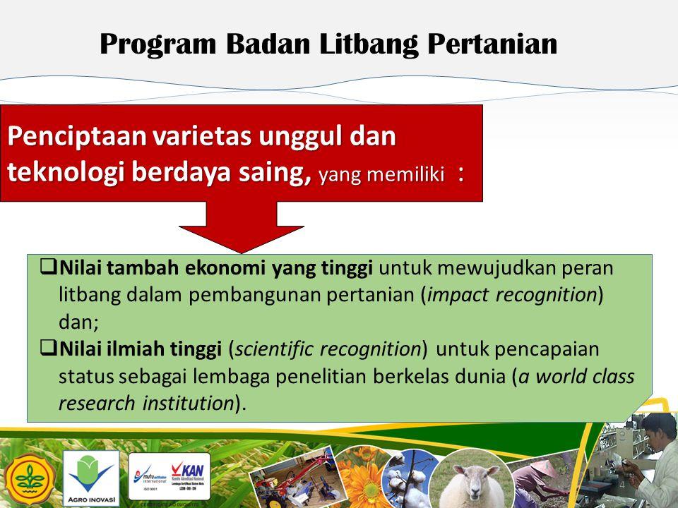 4 4 Program Badan Litbang Pertanian  Nilai tambah ekonomi yang tinggi untuk mewujudkan peran litbang dalam pembangunan pertanian (impact recognition)