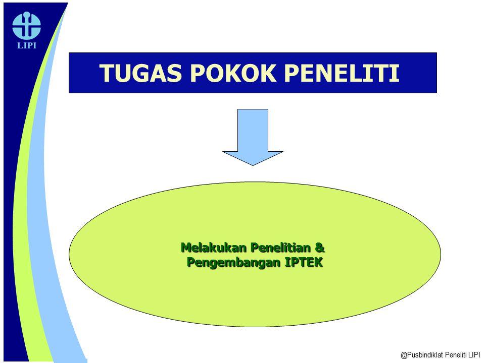 @Pusbindiklat Peneliti LIPI TUGAS POKOK PENELITI Melakukan Penelitian & Pengembangan IPTEK