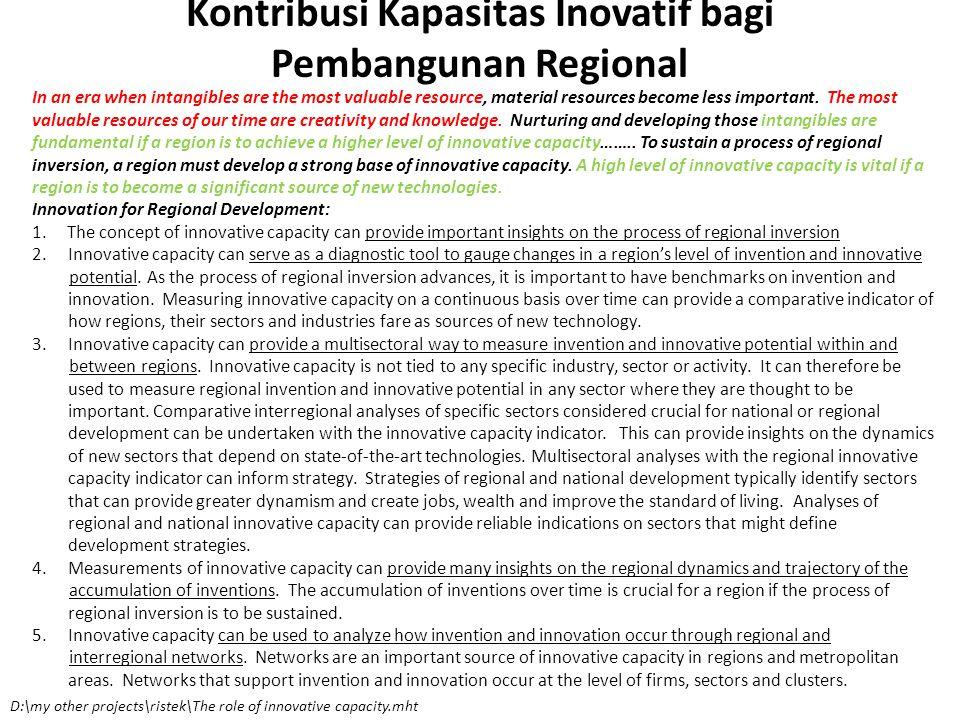 Kontribusi Kapasitas Inovatif bagi Pembangunan Regional In an era when intangibles are the most valuable resource, material resources become less impo
