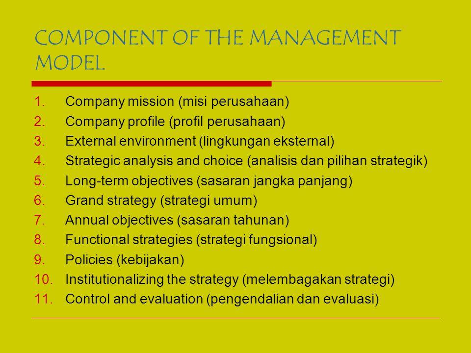 COMPONENT OF THE MANAGEMENT MODEL 1.Company mission (misi perusahaan) 2.Company profile (profil perusahaan) 3.External environment (lingkungan eksternal) 4.Strategic analysis and choice (analisis dan pilihan strategik) 5.Long-term objectives (sasaran jangka panjang) 6.Grand strategy (strategi umum) 7.Annual objectives (sasaran tahunan) 8.Functional strategies (strategi fungsional) 9.Policies (kebijakan) 10.Institutionalizing the strategy (melembagakan strategi) 11.Control and evaluation (pengendalian dan evaluasi)