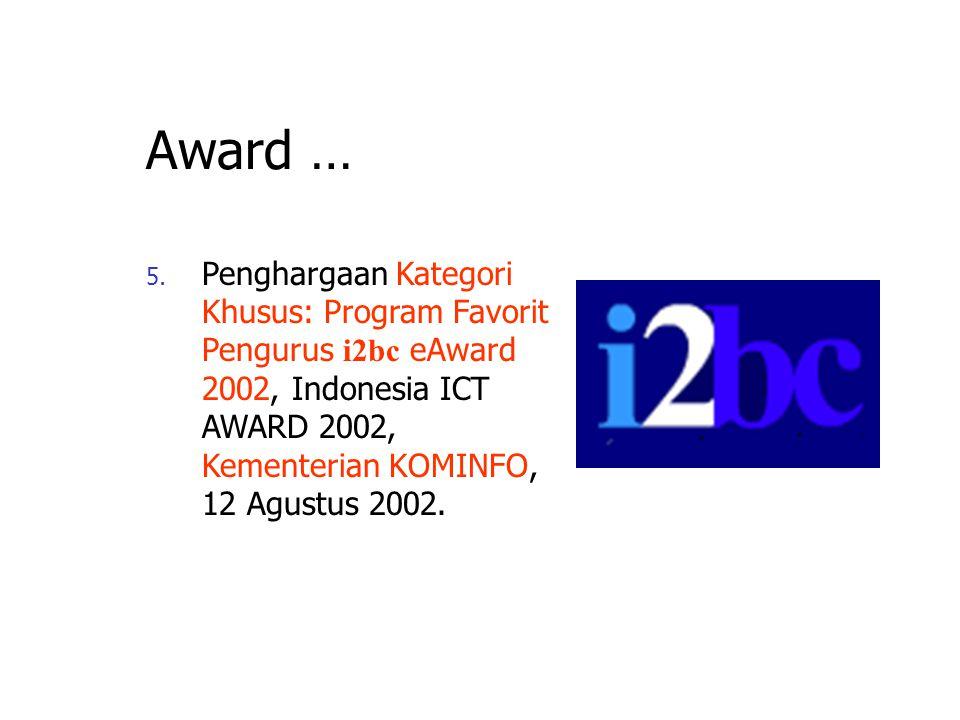 Awards … 4. Masuk kategori Innovative Research, dipublikasikan dalam PAN ASIA ICT R&D Review, Mei 2002, IDRC Singapore.