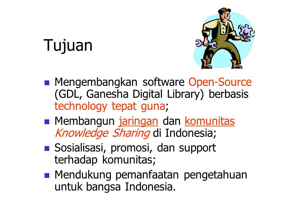 Tujuan Mengembangkan software Open-Source (GDL, Ganesha Digital Library) berbasis technology tepat guna; Membangun jaringan dan komunitas Knowledge Sharing di Indonesia; Sosialisasi, promosi, dan support terhadap komunitas; Mendukung pemanfaatan pengetahuan untuk bangsa Indonesia.