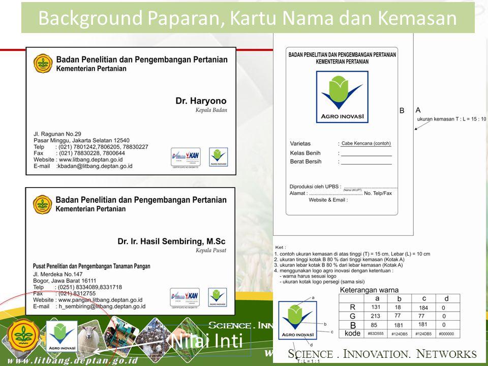 www.litbang.deptan.go.id Science. Innovation. Network Background Paparan, Kartu Nama dan Kemasan Nilai Inti S CIENCE. I NNOVATION. N ETWORKS
