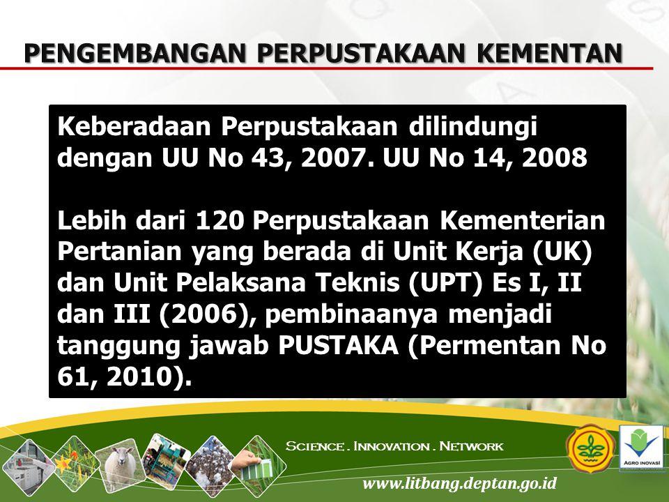 www.litbang.deptan.go.id Science. Innovation. Network Keberadaan Perpustakaan dilindungi dengan UU No 43, 2007. UU No 14, 2008 Lebih dari 120 Perpusta