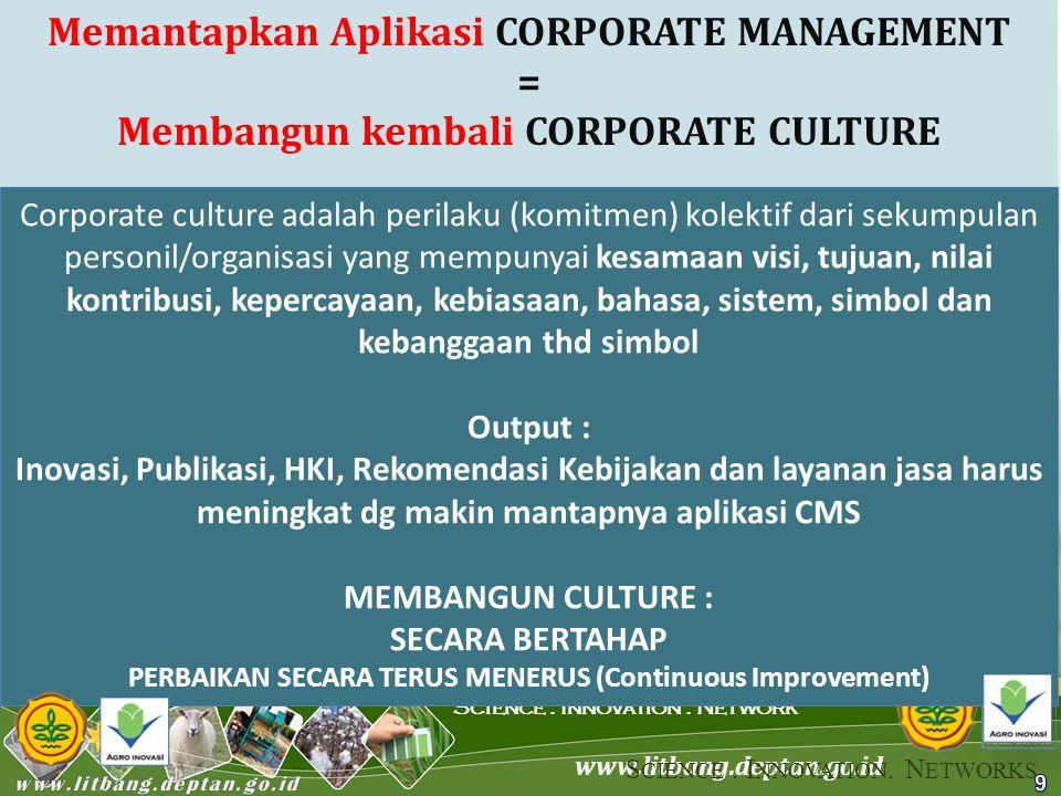 www.litbang.deptan.go.id Science. Innovation. Network Memantapkan Aplikasi CORPORATE MANAGEMENT = Membangun kembali CORPORATE CULTURE 9 Corporate cult