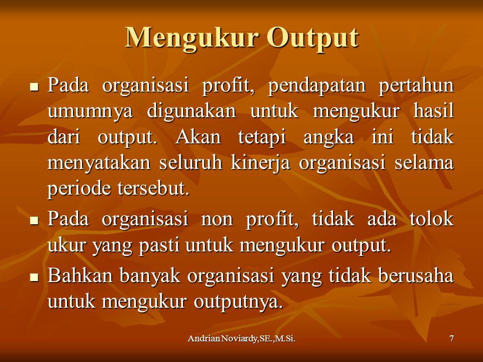 Andrian Noviardy,SE.,M.Si.7 Mengukur Output Pada organisasi profit, pendapatan pertahun umumnya digunakan untuk mengukur hasil dari output. Akan tetap