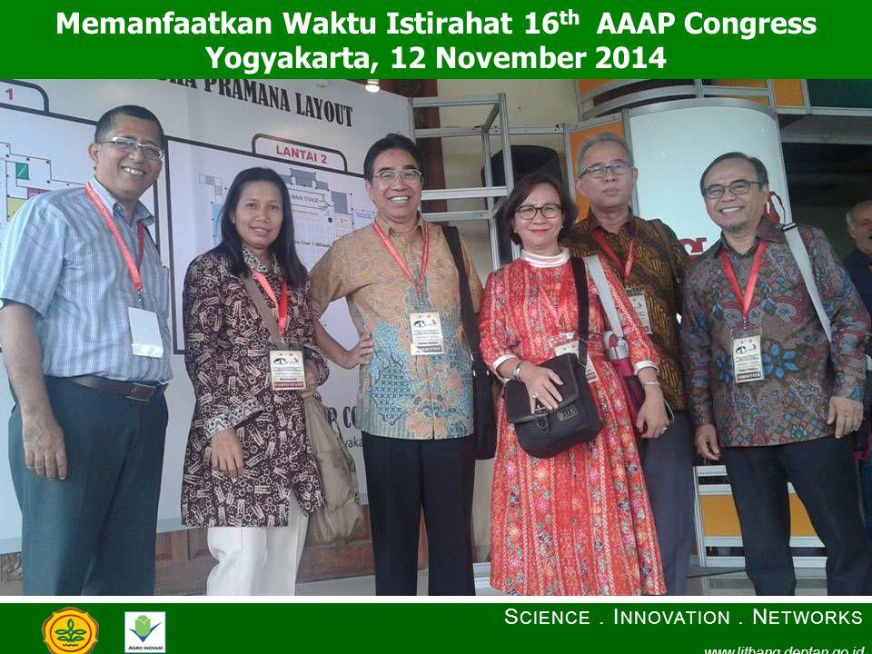 Memanfaatkan Waktu Istirahat 16 th AAAP Congress Yogyakarta, 12 November 2014 S CIENCE. I NNOVATION. N ETWORKS www.litbang.deptan.go.id