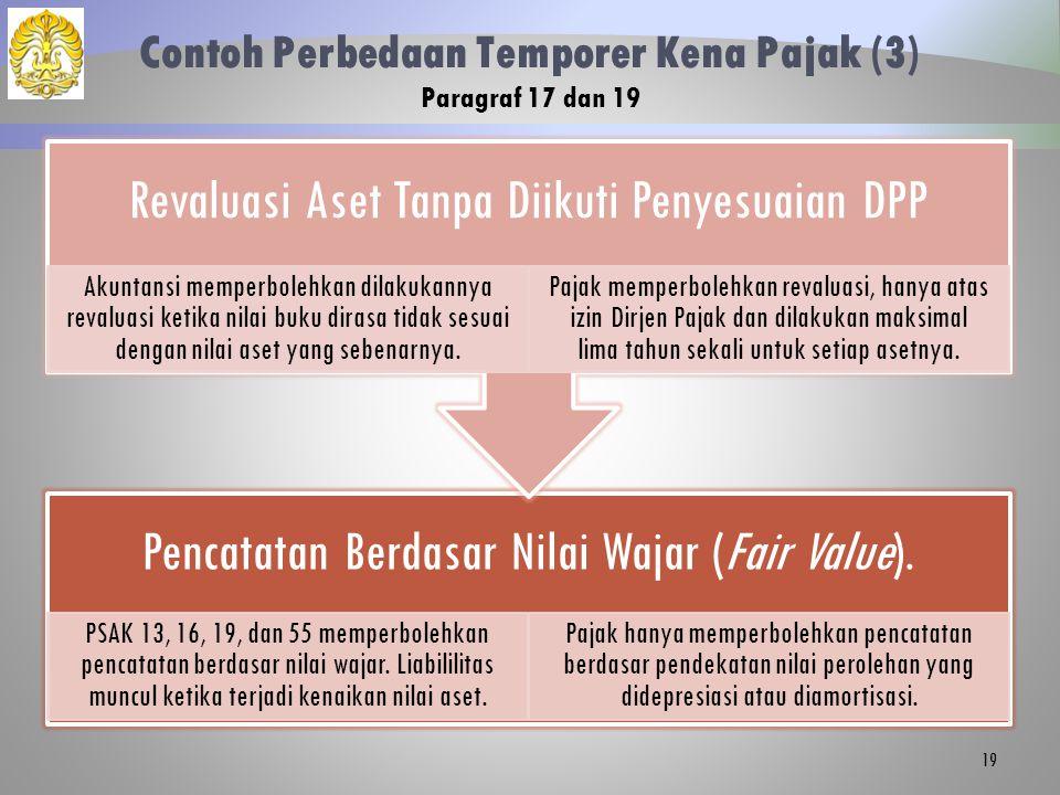 Contoh Perbedaan Temporer Kena Pajak (3) Paragraf 17 dan 19 Pencatatan Berdasar Nilai Wajar (Fair Value). PSAK 13, 16, 19, dan 55 memperbolehkan penca