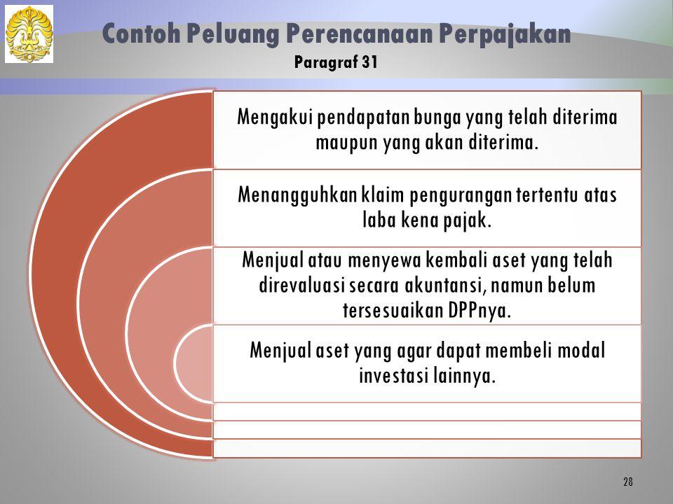 Contoh Peluang Perencanaan Perpajakan Paragraf 31 Mengakui pendapatan bunga yang telah diterima maupun yang akan diterima. Menangguhkan klaim penguran
