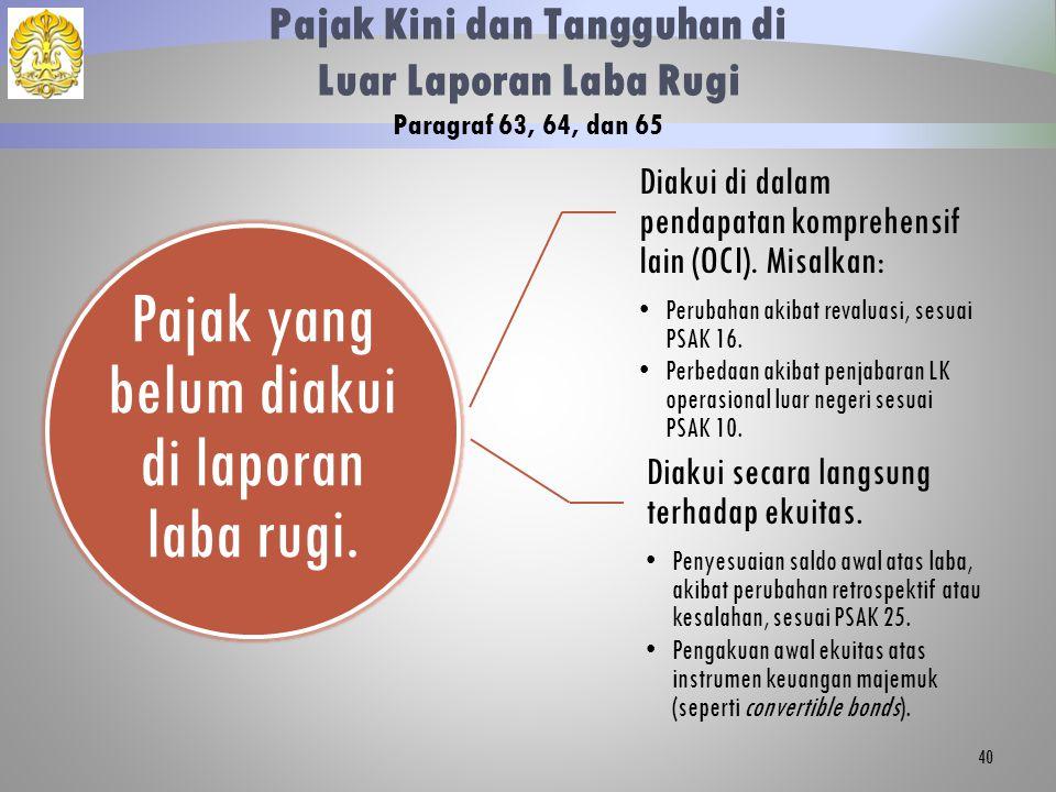 Pajak yang belum diakui di laporan laba rugi. Diakui di dalam pendapatan komprehensif lain (OCI). Misalkan: Perubahan akibat revaluasi, sesuai PSAK 16
