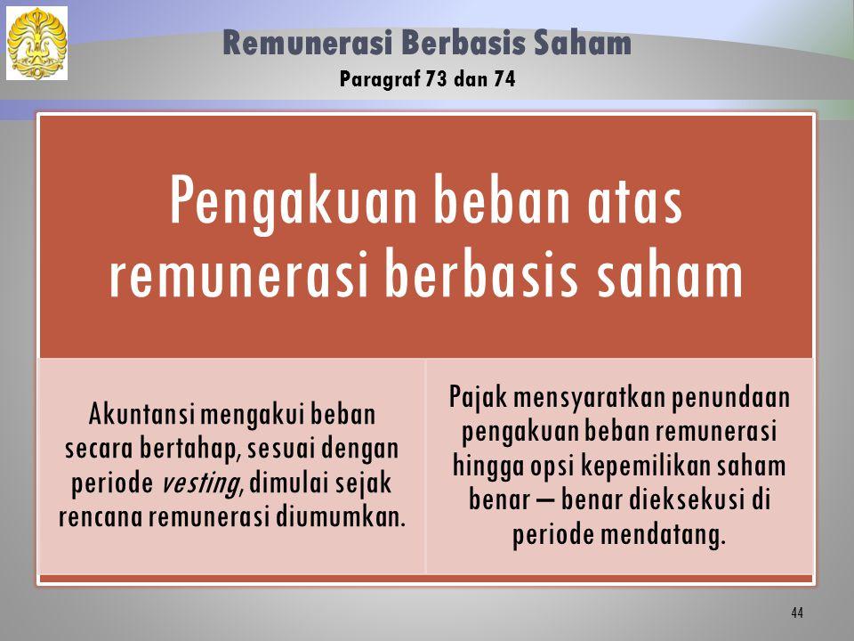Remunerasi Berbasis Saham Paragraf 73 dan 74 Pengakuan beban atas remunerasi berbasis saham Akuntansi mengakui beban secara bertahap, sesuai dengan periode vesting, dimulai sejak rencana remunerasi diumumkan.