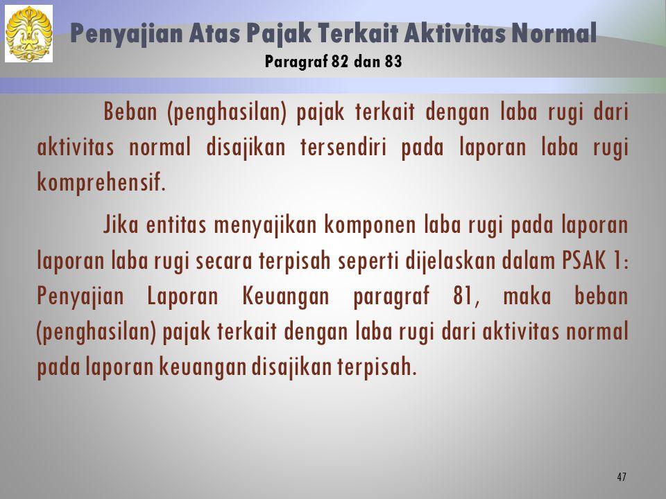 Penyajian Atas Pajak Terkait Aktivitas Normal Paragraf 82 dan 83 Beban (penghasilan) pajak terkait dengan laba rugi dari aktivitas normal disajikan te