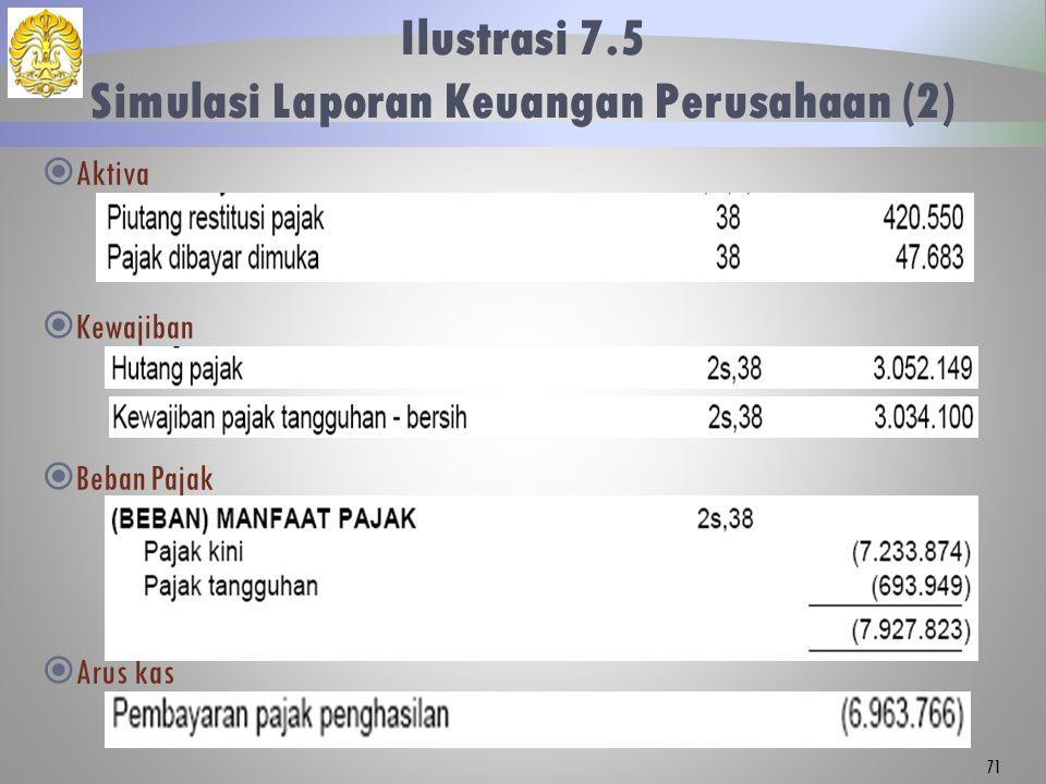 Ilustrasi 7.5 Simulasi Laporan Keuangan Perusahaan (2) 71  Aktiva  Kewajiban  Beban Pajak  Arus kas 71