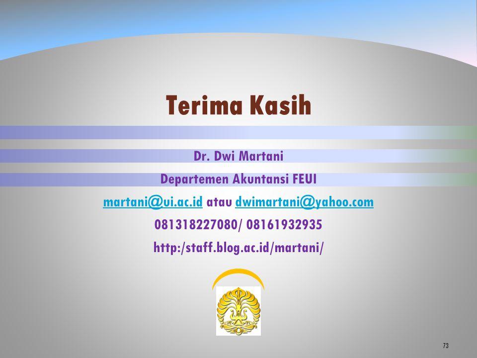73 Dr. Dwi Martani Departemen Akuntansi FEUI martani@ui.ac.idmartani@ui.ac.id atau dwimartani@yahoo.comdwimartani@yahoo.com 081318227080/ 08161932935