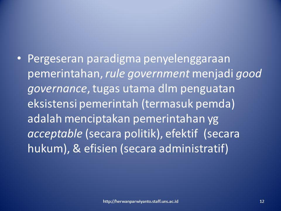 Pergeseran paradigma penyelenggaraan pemerintahan, rule government menjadi good governance, tugas utama dlm penguatan eksistensi pemerintah (termasuk