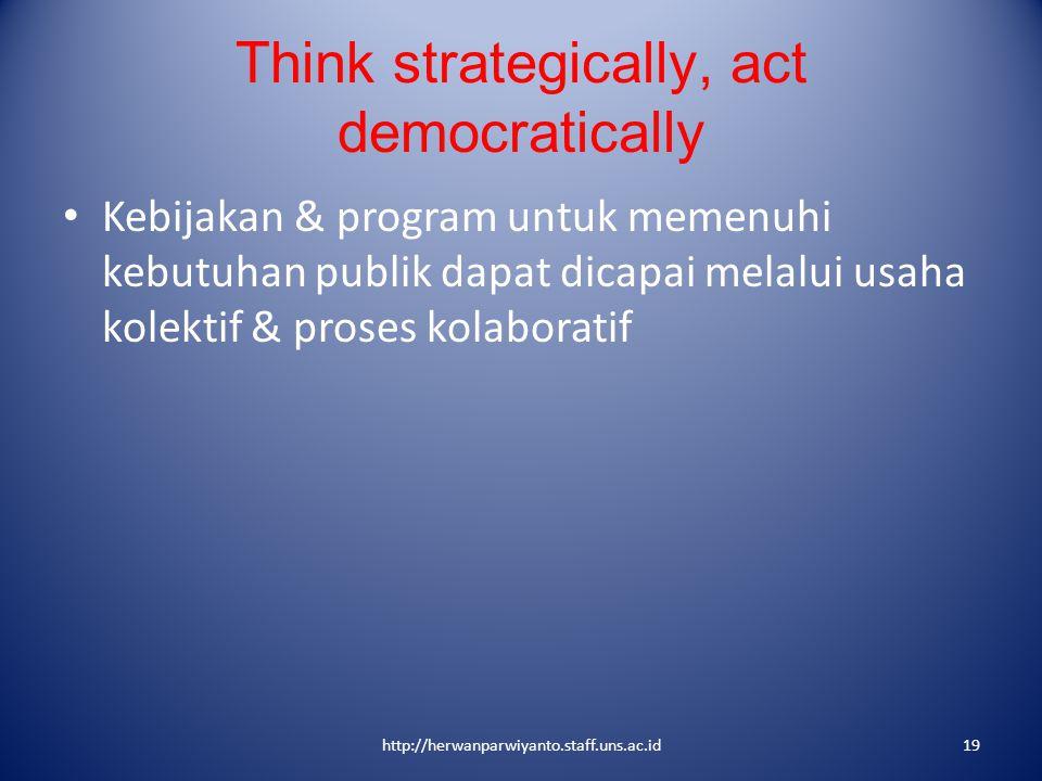Think strategically, act democratically Kebijakan & program untuk memenuhi kebutuhan publik dapat dicapai melalui usaha kolektif & proses kolaboratif