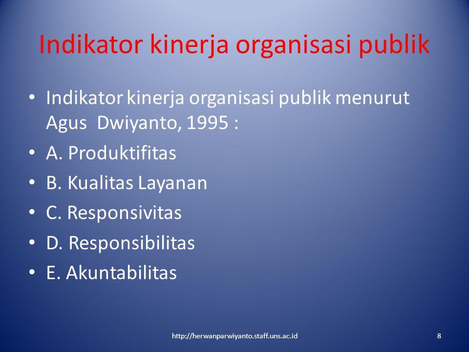Indikator kinerja organisasi publik Indikator kinerja organisasi publik menurut Agus Dwiyanto, 1995 : A. Produktifitas B. Kualitas Layanan C. Responsi