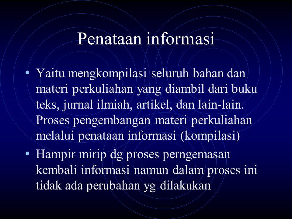 Penataan informasi Yaitu mengkompilasi seluruh bahan dan materi perkuliahan yang diambil dari buku teks, jurnal ilmiah, artikel, dan lain-lain. Proses