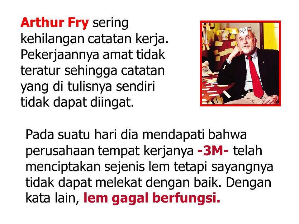 Arthur Fry sering kehilangan catatan kerja. Pekerjaannya amat tidak teratur sehingga catatan yang di tulisnya sendiri tidak dapat diingat. Pada suatu