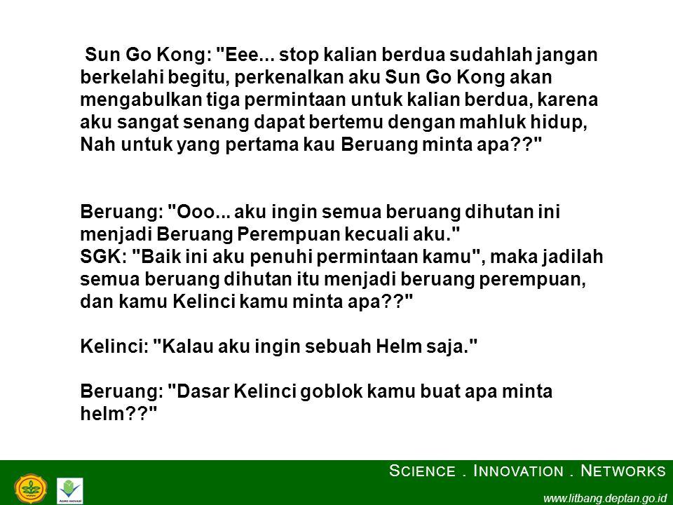 S CIENCE. I NNOVATION. N ETWORKS www.litbang.deptan.go.id Sun Go Kong: