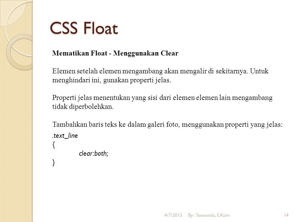 CSS Float Mematikan Float - Menggunakan Clear Elemen setelah elemen mengambang akan mengalir di sekitarnya.