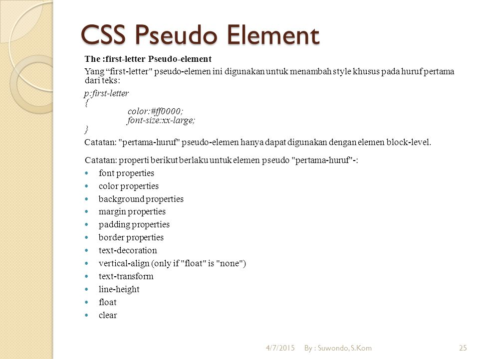 "CSS Pseudo Element The :first-letter Pseudo-element Yang ""first-letter"