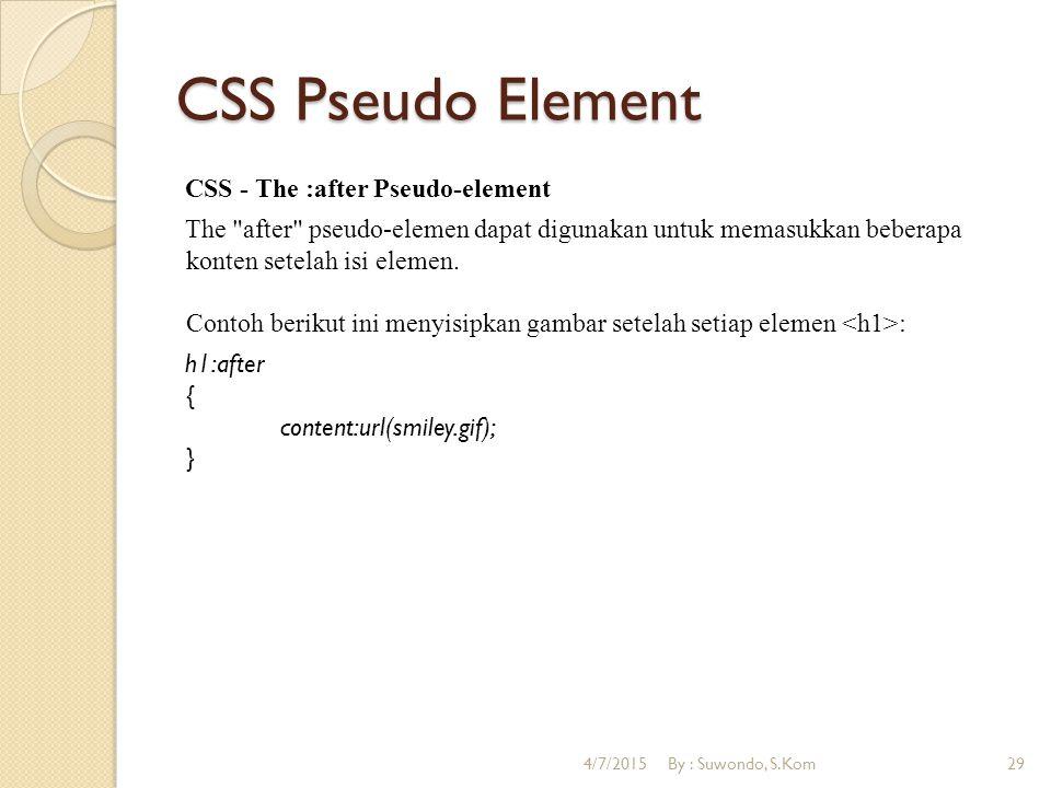 CSS Pseudo Element CSS - The :after Pseudo-element The after pseudo-elemen dapat digunakan untuk memasukkan beberapa konten setelah isi elemen.