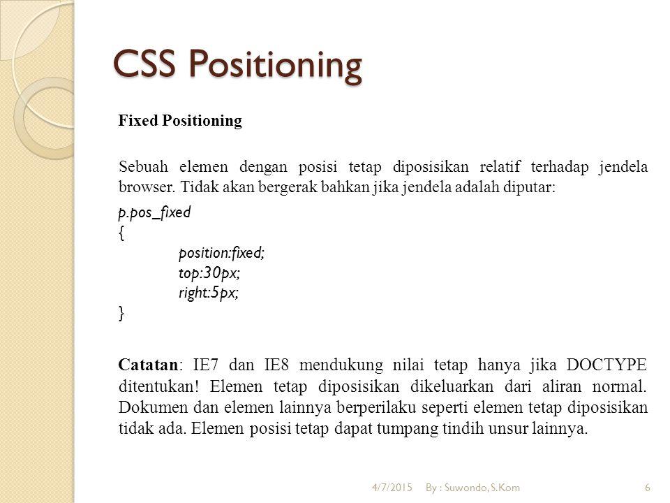 CSS Positioning Relative Positioning Unsur diposisikan relatif terhadap posisi normalnya.