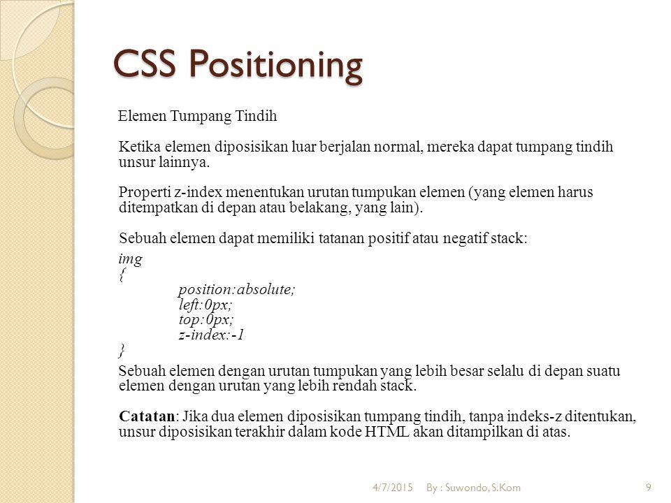 CSS Positioning Semua Property untuk CSS Positioning : 4/7/2015By : Suwondo, S.Kom10
