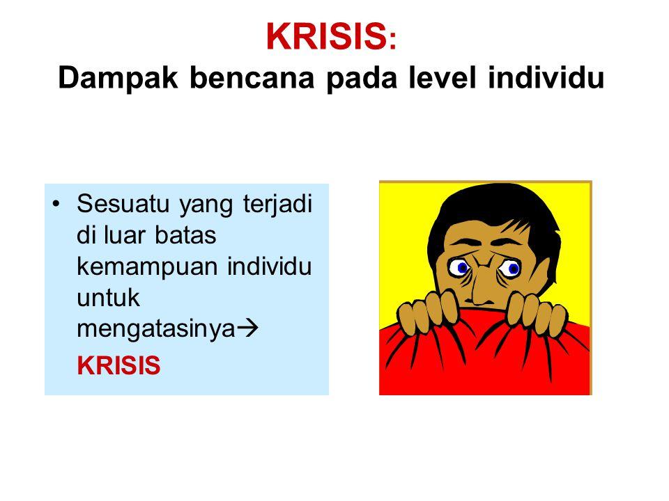 KRISIS : Dampak bencana pada level individu Sesuatu yang terjadi di luar batas kemampuan individu untuk mengatasinya  KRISIS