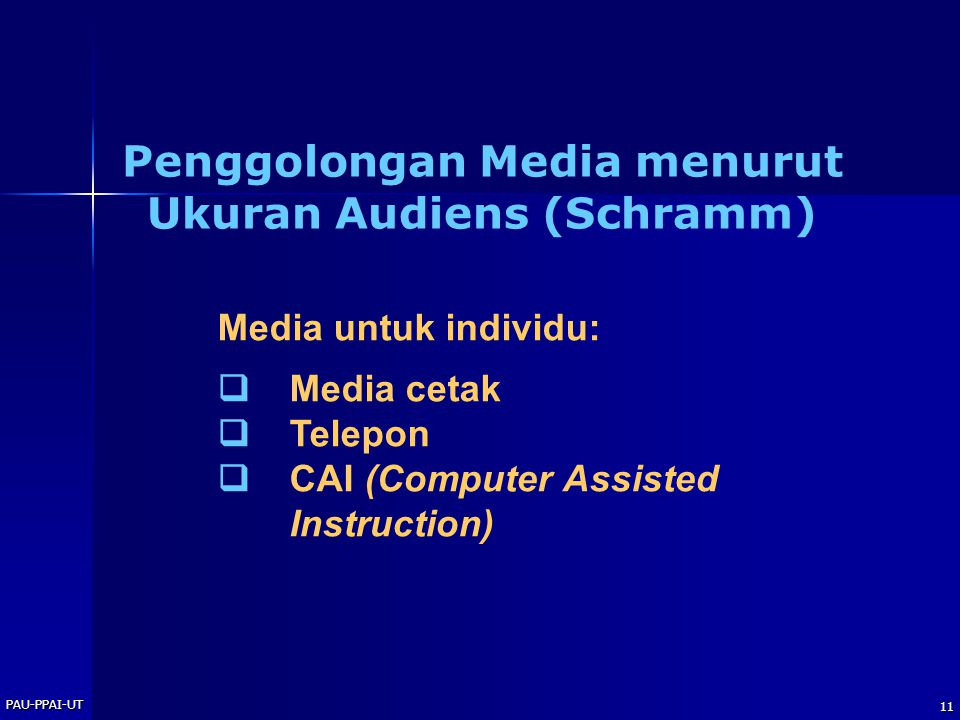 PAU-PPAI-UT 11 Media untuk individu:  Media cetak  Telepon  CAI (Computer Assisted Instruction) Penggolongan Media menurut Ukuran Audiens (Schramm)